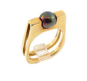 Jean Dinh Van Pierre Cardin 18K Black Pearl Ring