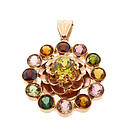 H Stern-Style 18K Rose Gold & Multi-Gem Pendant