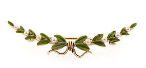 Art Nouveau 14K Gold Enamel & Pearl Laurel Crescent Pin