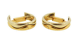 Cartier 18K White & Yellow Gold Wave Stirrup Cufflinks