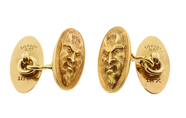 Art Nouveau Tiffany 18K Gold Devil Cufflinks