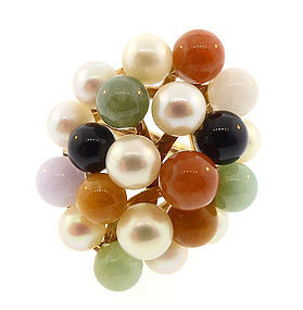 Ming's of Honolulu 14K Gold, Pearl & Jade Ring