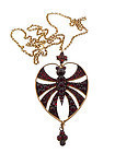Victorian Art Nouveau Garnet Butterfly Pendant