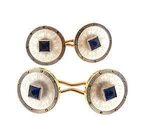 Edwardian Krementz Rock Crystal Sapphire 14K Gold Cufflinks