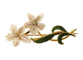 Art Nouveau 14K Gold, Enamel, Diamond & Pearl Flower Pin