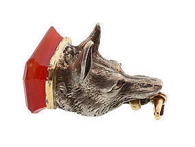 French Victorian Silver, 18K Gold, Carnelian, Ruby Wolf Fob Seal