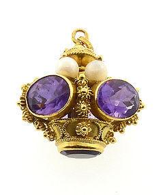 Venetian Etruscan Revival 18K Gold Amethyst & Pearl Crown Fob Pendant