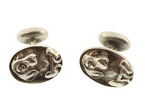 Victorian Sterling Silver Beagle Hound Dog Cufflinks