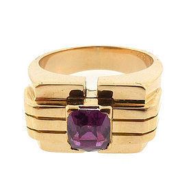 Retro 18K Gold & Ruby Gentleman's Ring