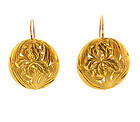 French Art Nouveau 18K Gold Floral Earrings