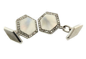 French Art Deco Platinum Moonstone & Diamond Cufflinks