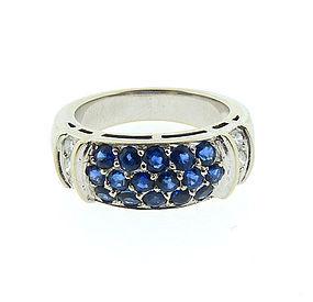 Van Cleef  & Arpels 18K White Gold, Diamond & Sapphire Ring