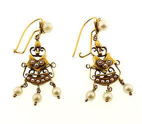 Victorian 14K Gold & Pearl Earrings