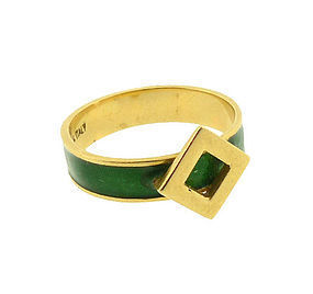 Gucci 18K Gold & Kelly Green Enamel Buckle Ring