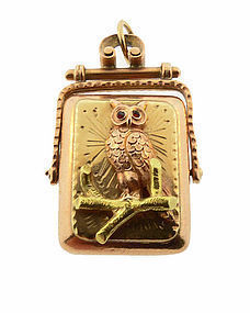 Victorian Aesthetic 14K Multicolored Gold & Garnet Owl Fob Locket