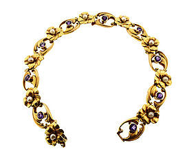 Krementz Art Nouveau 14K Gold & Amethyst Pansy Bracelet