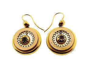Victorian 18K Gold & Green Tourmaline Earrings