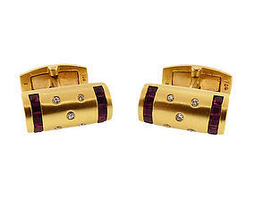 18K Yellow Gold, Diamond & Ruby Cufflinks