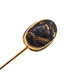 Victorian 18K Gold-Mounted Meiji Period Shakudo Geisha Stickpin