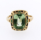 Art Deco 10K Gold, Enamel & Green Spinel Ring