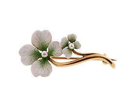 Hammerman Bros. Art Nouveau 14K Gold, Enamel & Pearl White Clover Pin