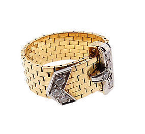 Retro J. E. Caldwell 18K Gold, Platinum, Diamond Buckle Ring