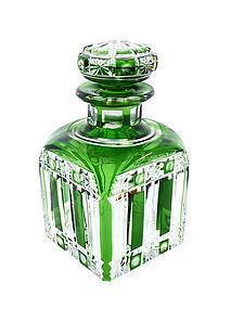 Cristalleries de Nancy Green Overlay Cut Crystal Perfume Bottle