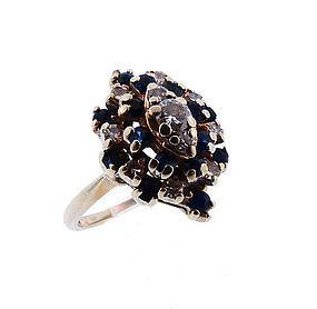 Vintage 14K White Gold Diamond & Sapphire Cocktail Ring