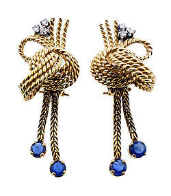 Mid-Century 18K Gold, Diamond & Sapphire Earrings