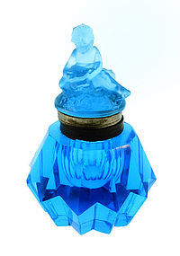 Peacock Blue Pressed & Cut Glass Cherub Inkwell