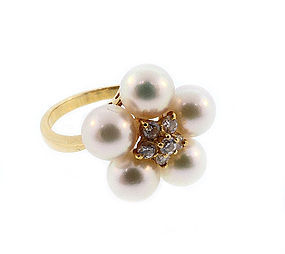Mikimoto 18K Gold, Pearl & Diamond Cluster Ring