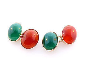 14K Yellow Gold, Carnelian & Green Chalcedony Cufflinks