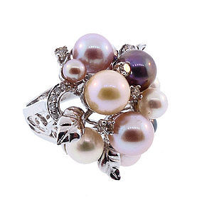 18K White Gold, Multicolored Pearl & Diamond Cocktail Ring