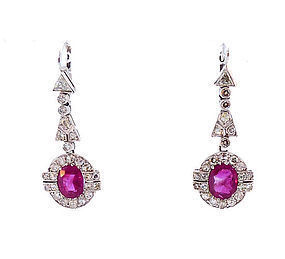 Art Deco 18K White Gold, Burmese Ruby & Diamond Earrings