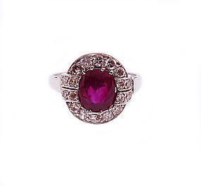 Art Deco 18K White Gold, Burmese Ruby & Diamond Ring