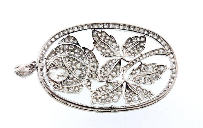 Art Deco 4.6-ct Diamond & Platinum Rose Pendant