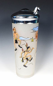 Vintage Federal Glass Company Dancing Indian Glass Cocktail Shaker