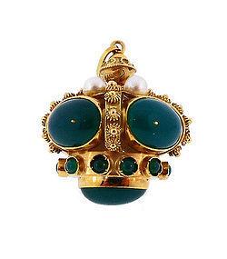 Venetian Etruscan 18K Gold, Pearl & Chalcedony Crown Fob/Charm