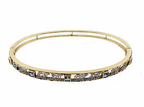 Edwardian 14K Gold, Platinum & Sapphire Hinged Bangle Bracelet