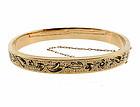 Victorian 14K Gold & Taille d�Epargne Enamel Hinged Bangle Bracelet