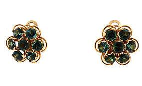 18K Gold & Green Tourmaline Cluster Earrings