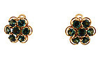 18K Gold & Green Tourmaline Cluster Earrings