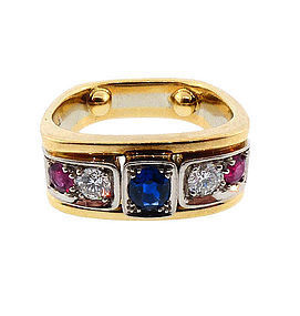 Contemporary 18K Gold, Diamond, Ruby & Sapphire Ring