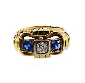 Retro 14K Gold, Platinum Diamond & Sapphire Ring