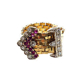 Retro 14K Gold, Platinum, Diamond & Ruby Flexible Strap & Buckle Ring