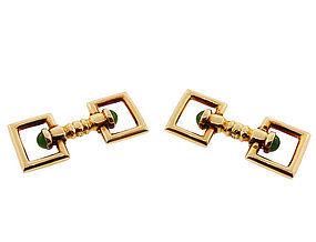 Carrington Art Deco 14K Gold & Nephrite Jade Flip-Up Stirrup Cufflinks