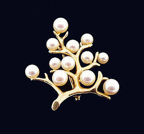 Mikimoto 14K Gold & Pearl TREE OF LIFE Brooch