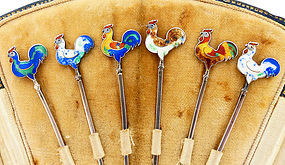 Art Deco Enameled Sterling Silver Rooster Cocktail Picks