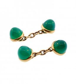 Art Deco 14K Gold & Chrysoprase Cufflinks