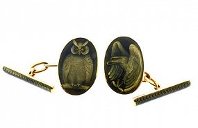 Edwardian 18K Gold Basse-Taille Guilloche Enamel Day & Night Cufflinks